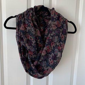 H&M dark floral lightweight scarf